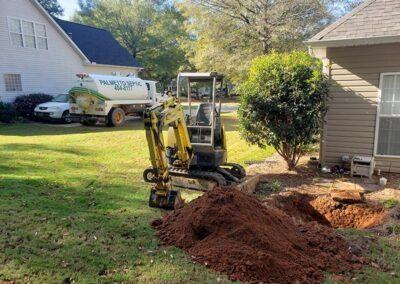 Septic Truck digging septic tank